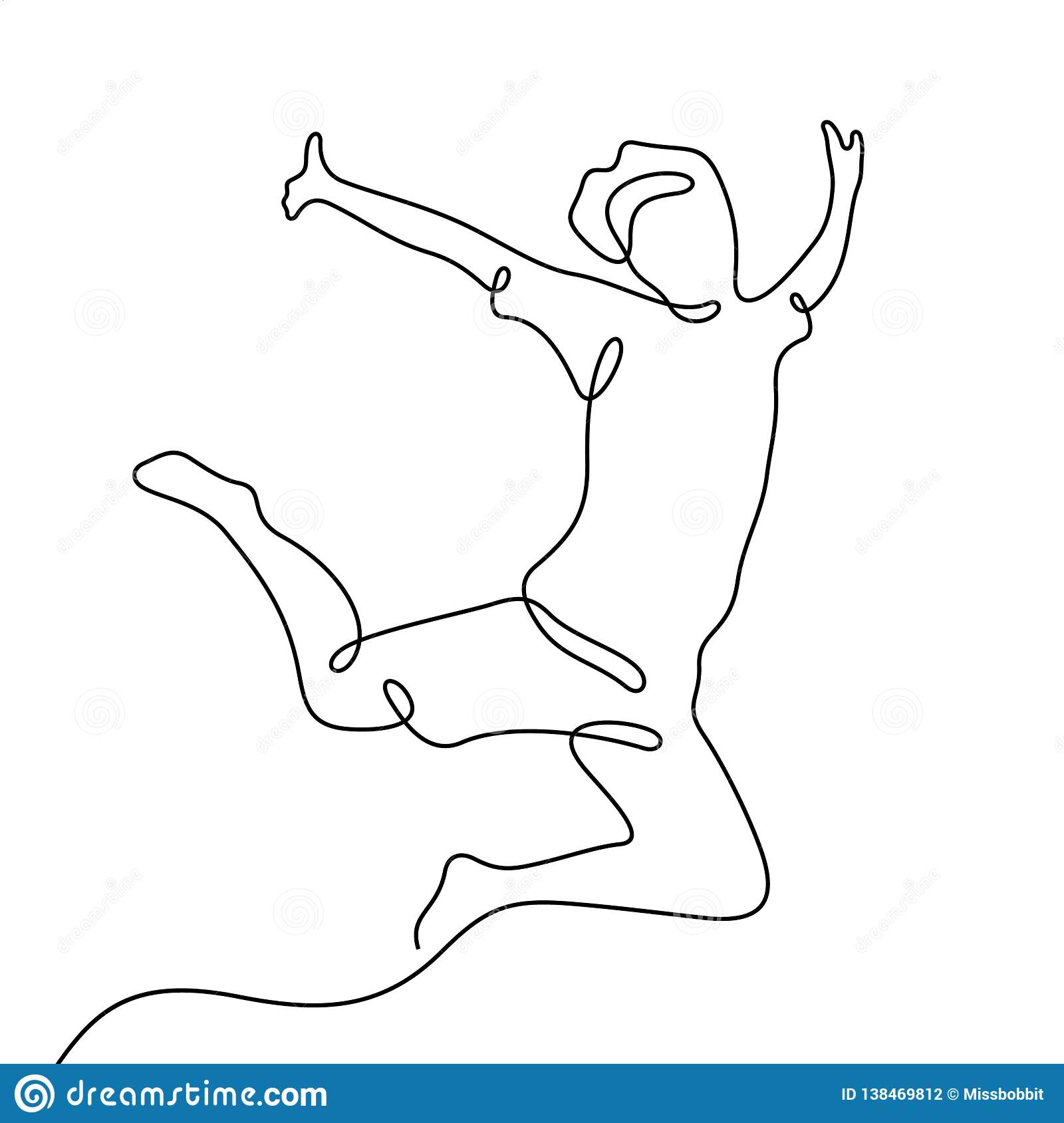 Man in motion artistic one line vector sketch graphic black on white