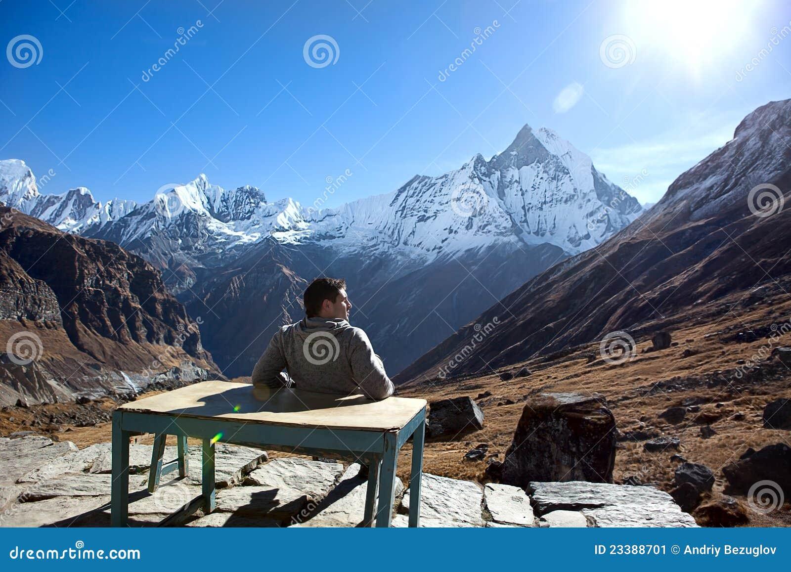 Man at mountains