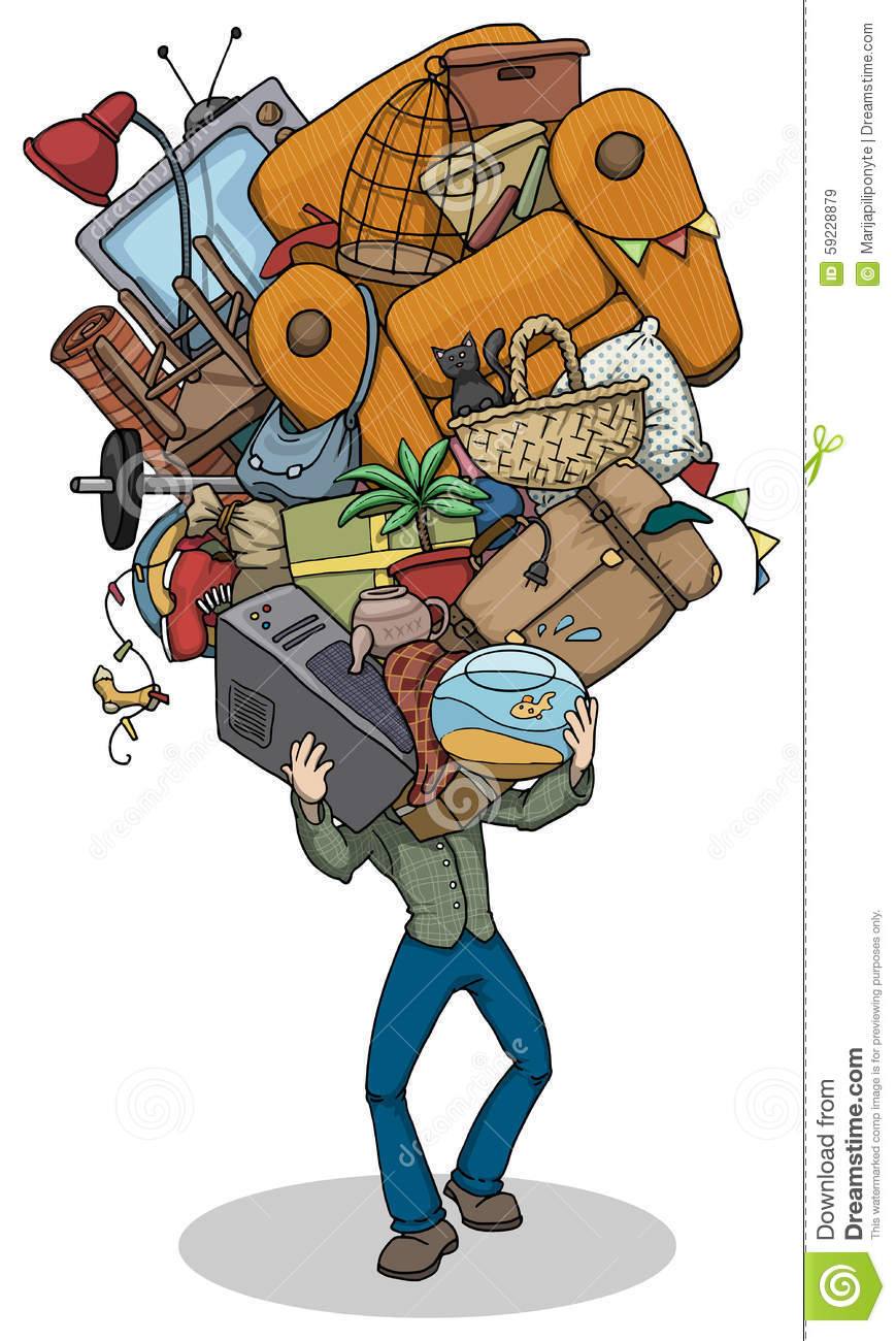 Man Moving With Huge Pile Of Things Stock Vector Image 59228879