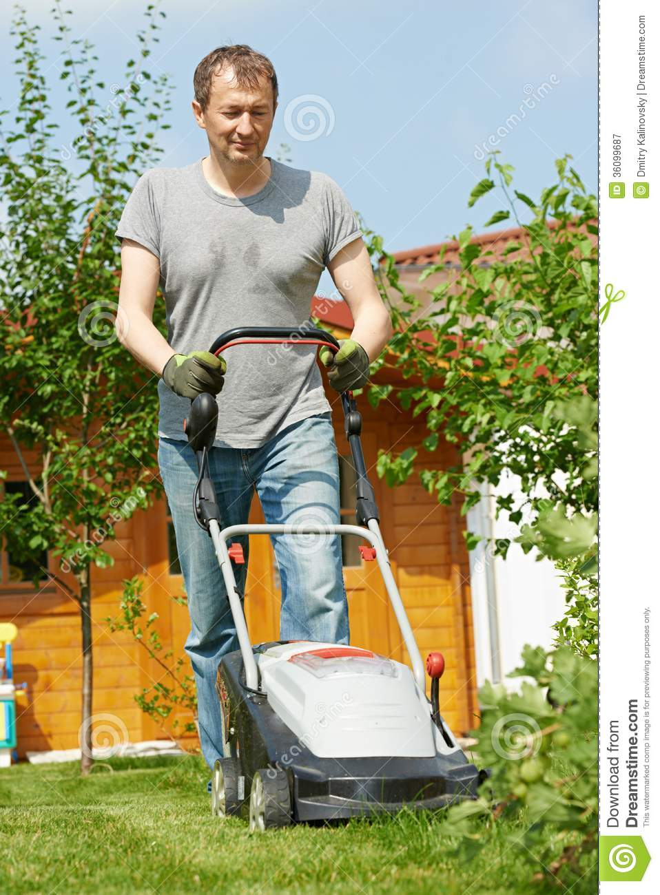 Man Mowing Lawn In Backyard Royalty Free Stock Photography