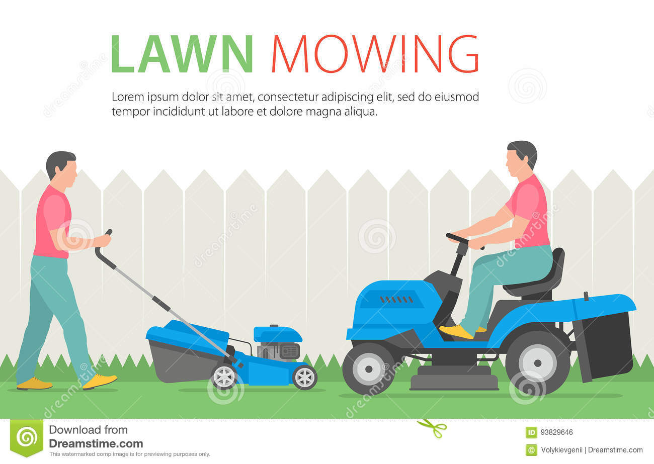 Man On Tractor Lawn Enforcment : Man mowing the lawn with blue mower stock vector