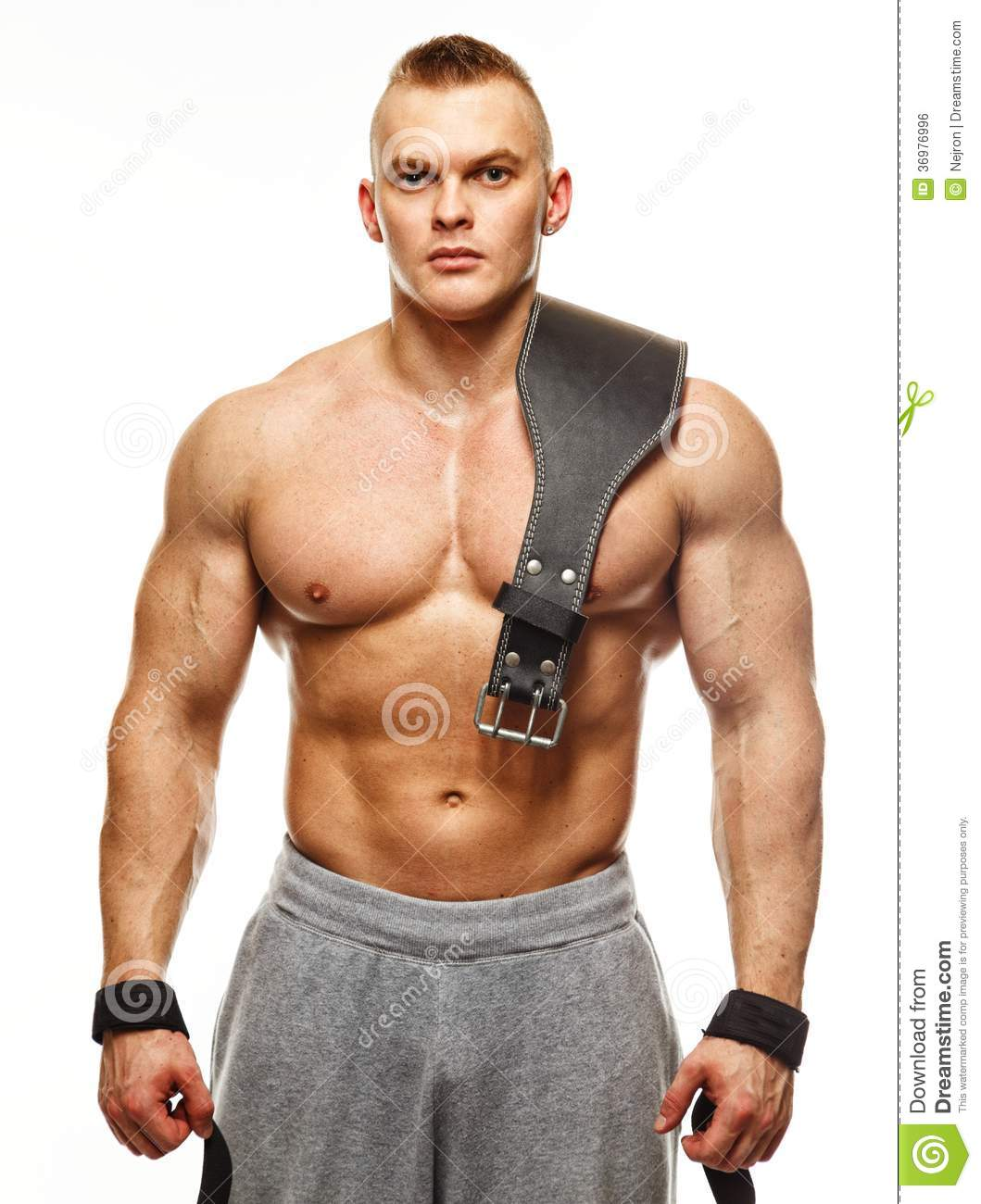 Man With Muscular Torso Posing Stock Photo Image Of Adult Muscle