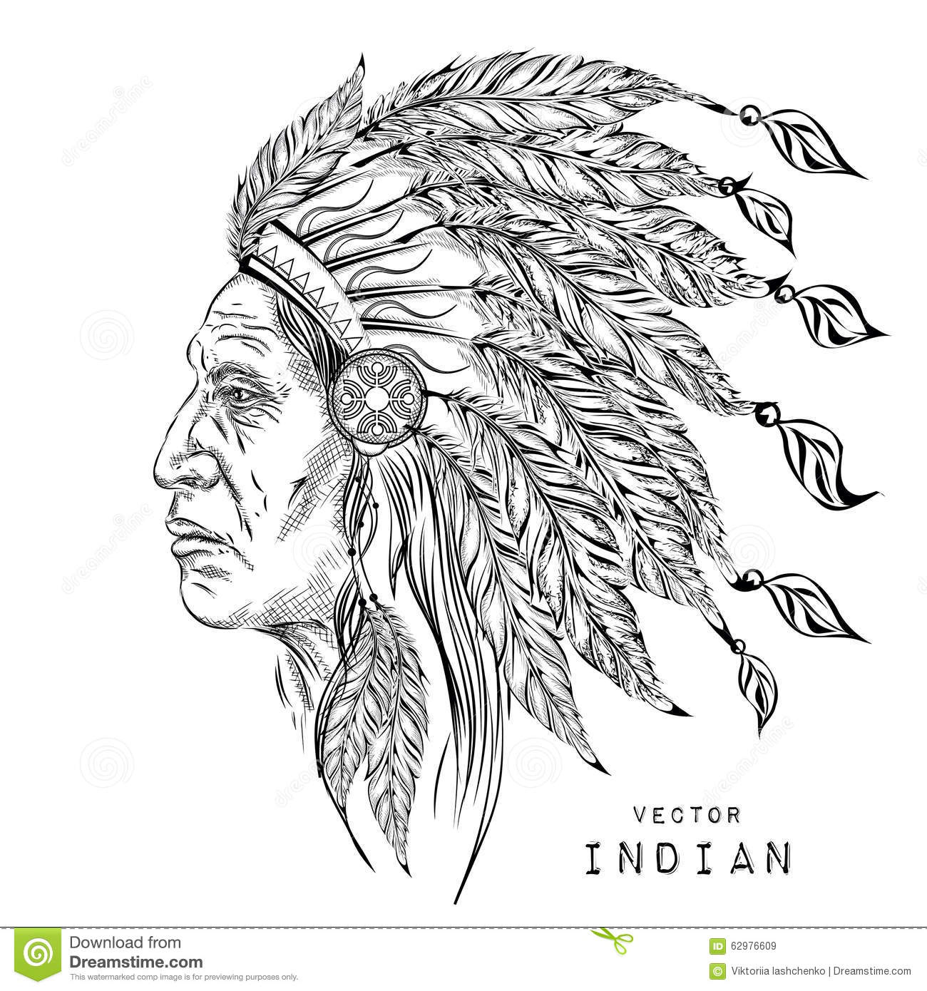 man in the native american indian chief black roach indian