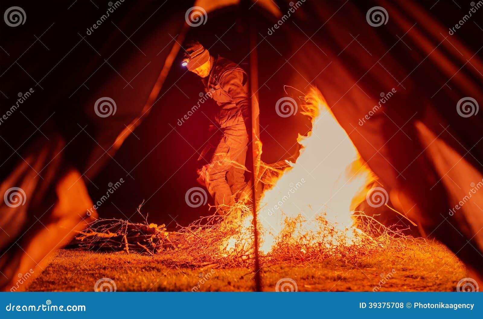 Camp Is Near A Fire Cartoon Vector