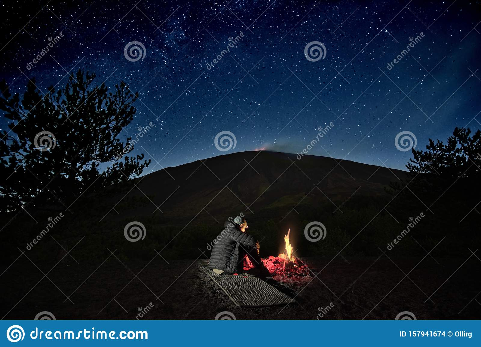 Man Near Campfire Under Etna Volcano And Starry Sky, Sicily