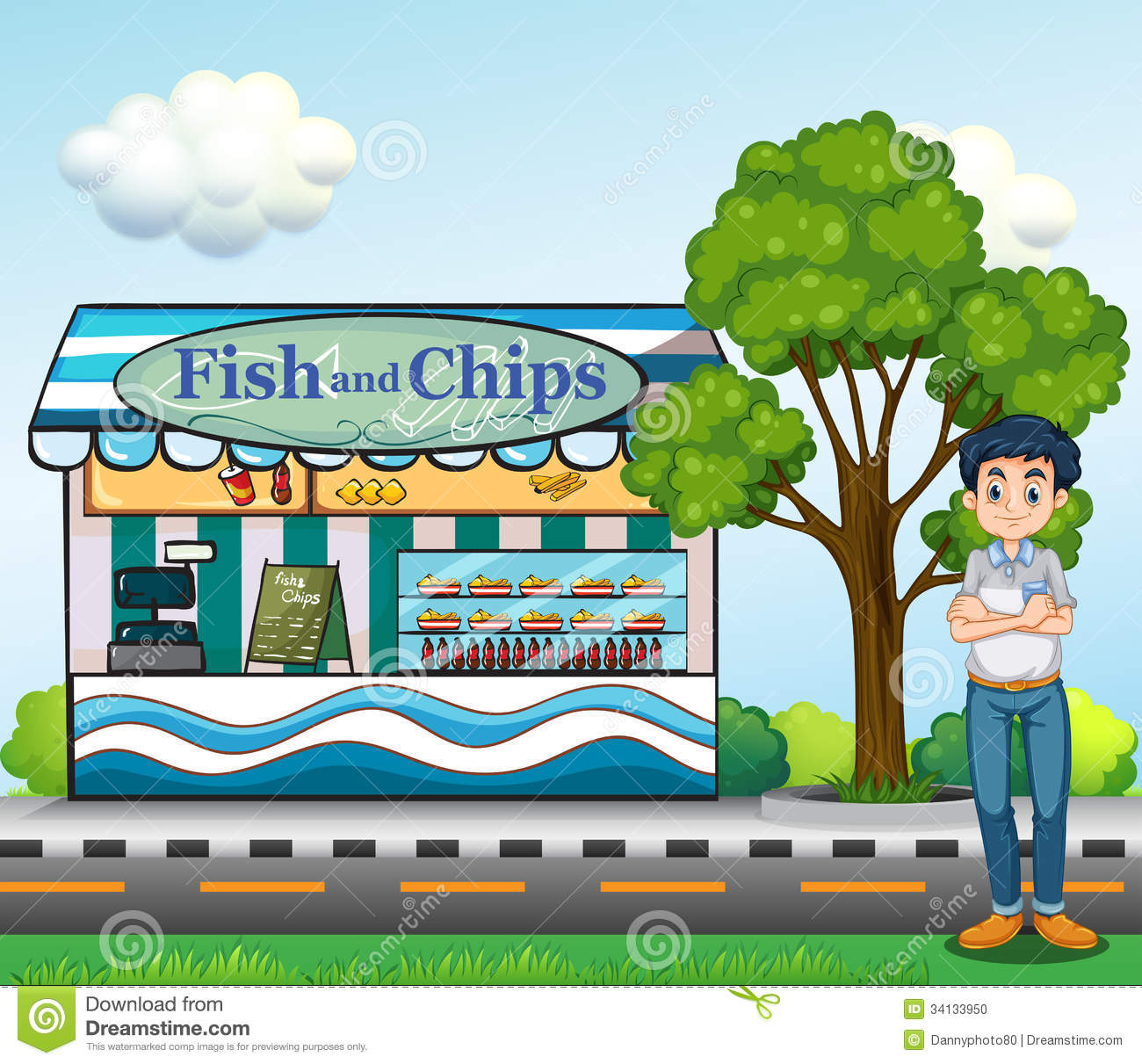 A man near the fish and chips store stock photo image for The fish store