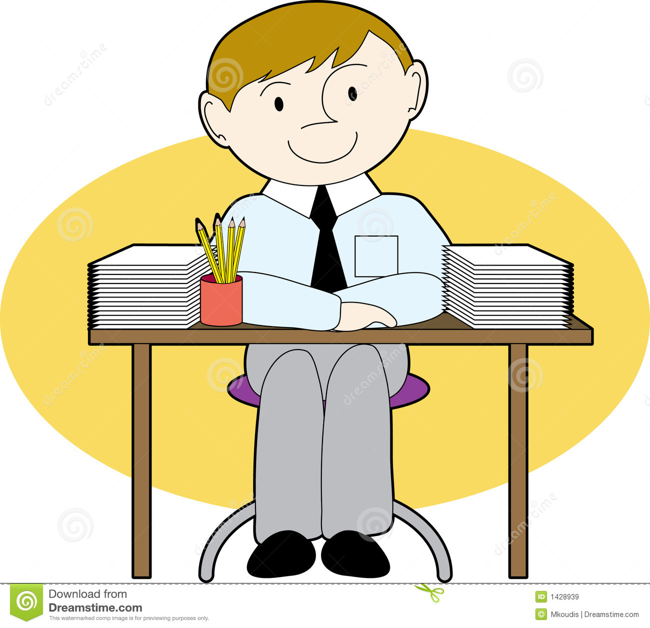 Man At A Neat Desk Royalty Free Stock Images Image 1428939