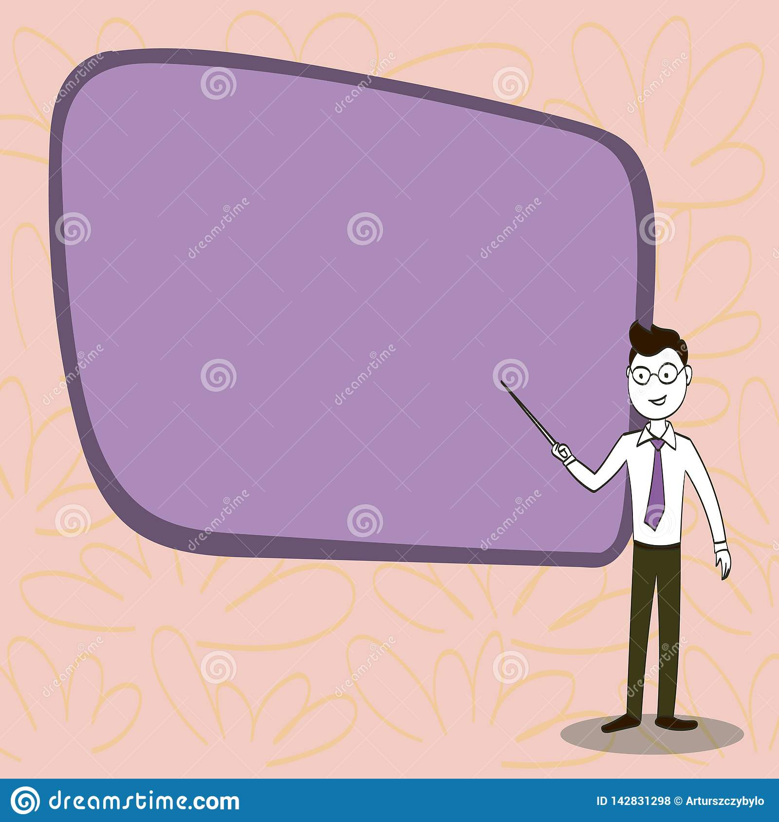 Man in Necktie, Eyeglasses and Stick Pointing to Blank Color Board. Confident Male Infront of Empty Screen Conducting