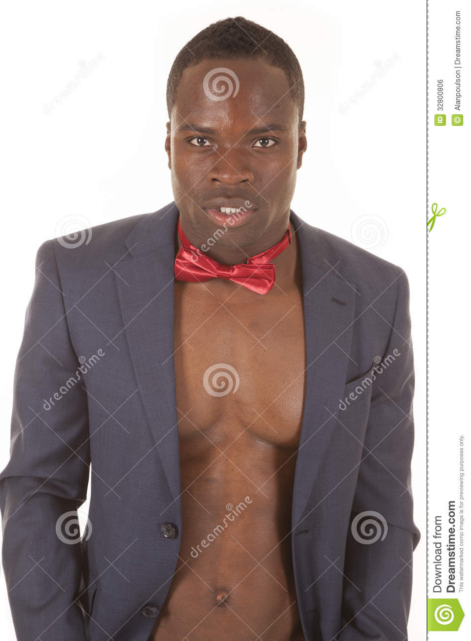 Man No Shirt Bowtie Jacket Serious Royalty Free Stock Image
