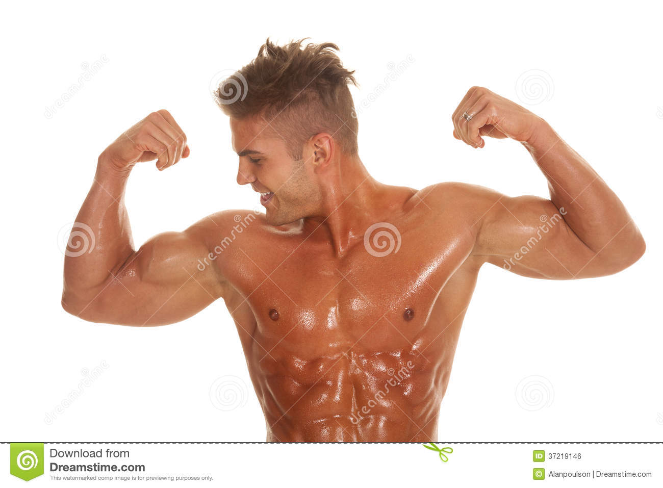 Man No Shirt Flexing Look Side Very Strong Stock Photo Image Of
