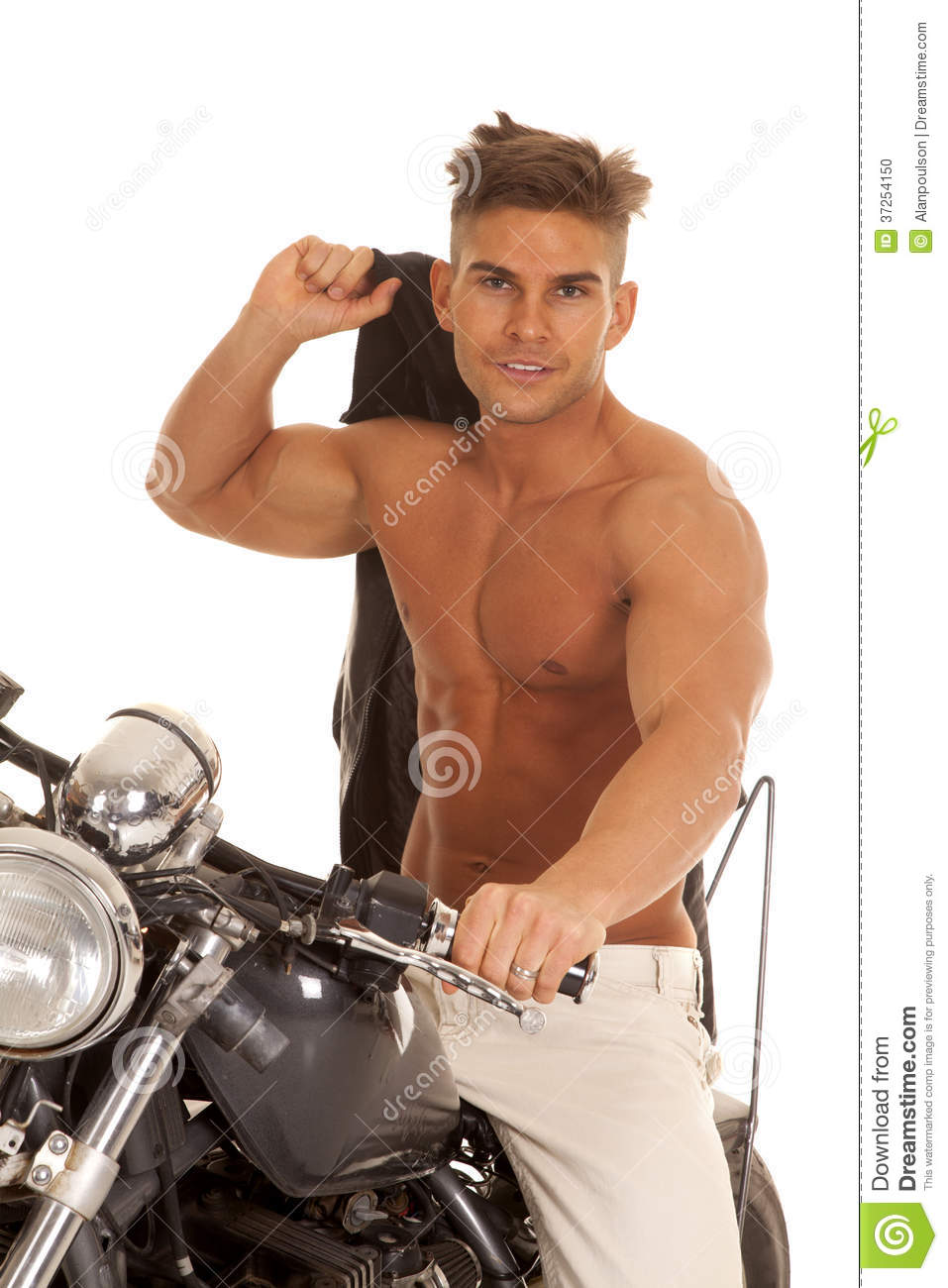 Man No Shirt Jacket Over Shoulder On Motorcycle Stock Photo Image