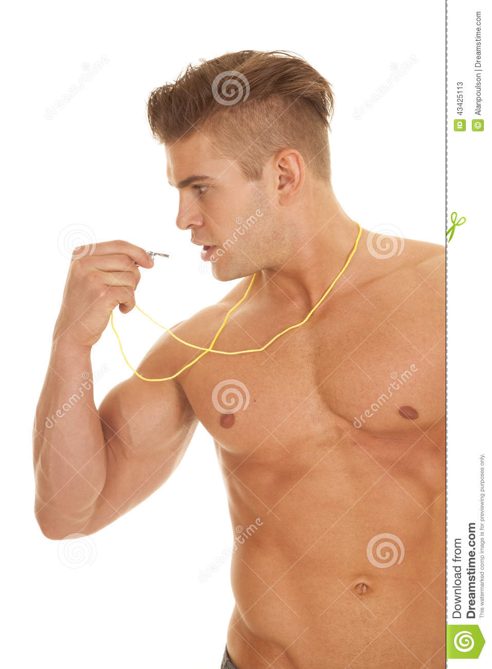 Man No Shirt With Whistle Side Stock Image Image Of Lifestyles
