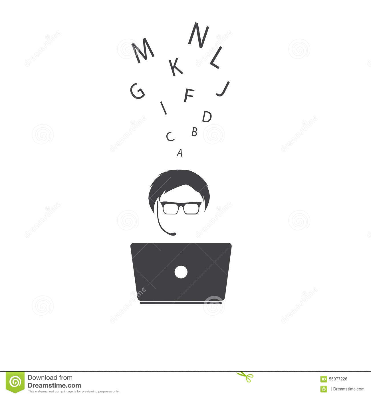 Man with notebook. Vector illustration.