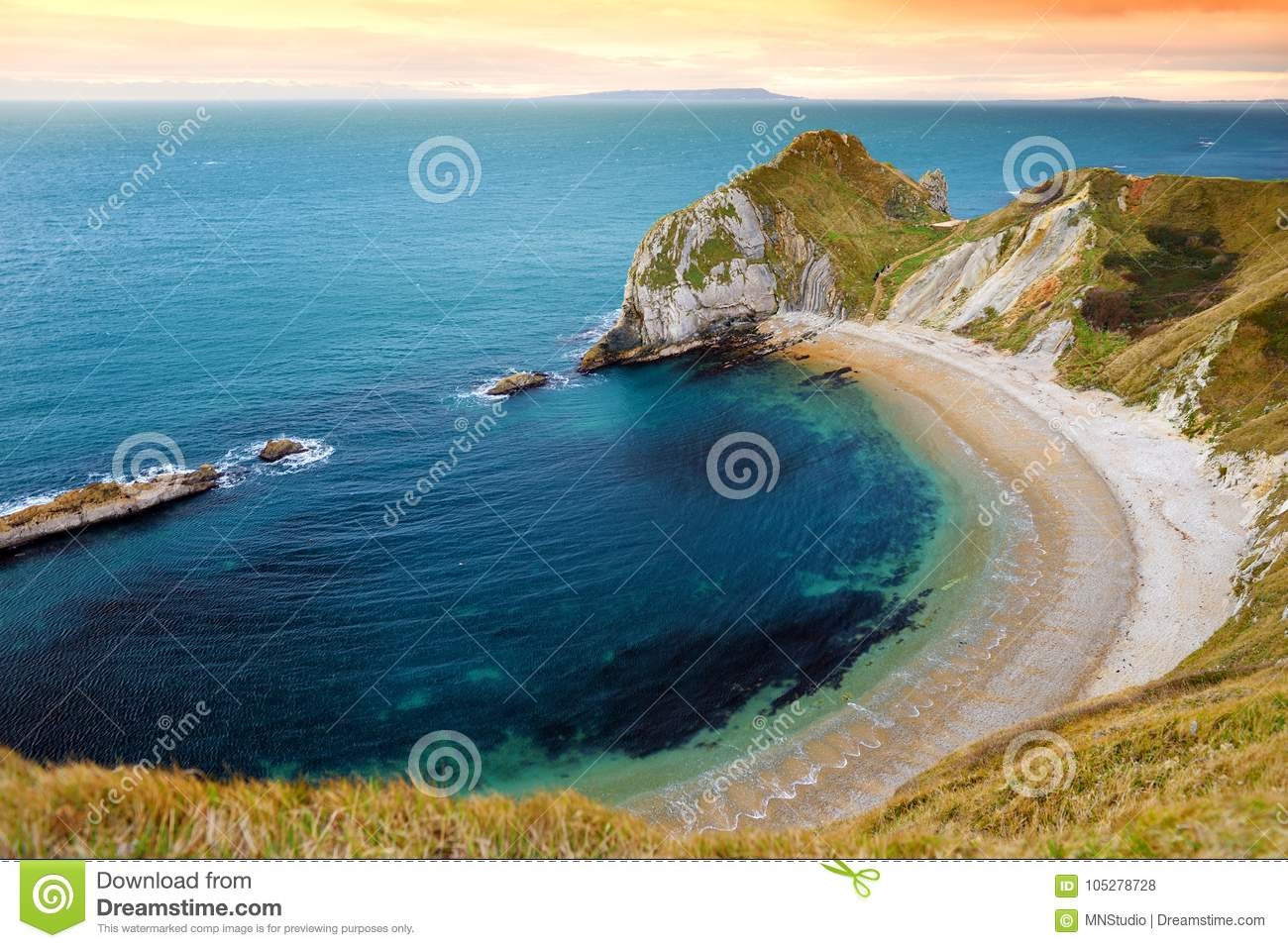 Man O`War Cove on the Dorset coast in southern England, between the headlands of Durdle Door to the west and Man O War Head to th