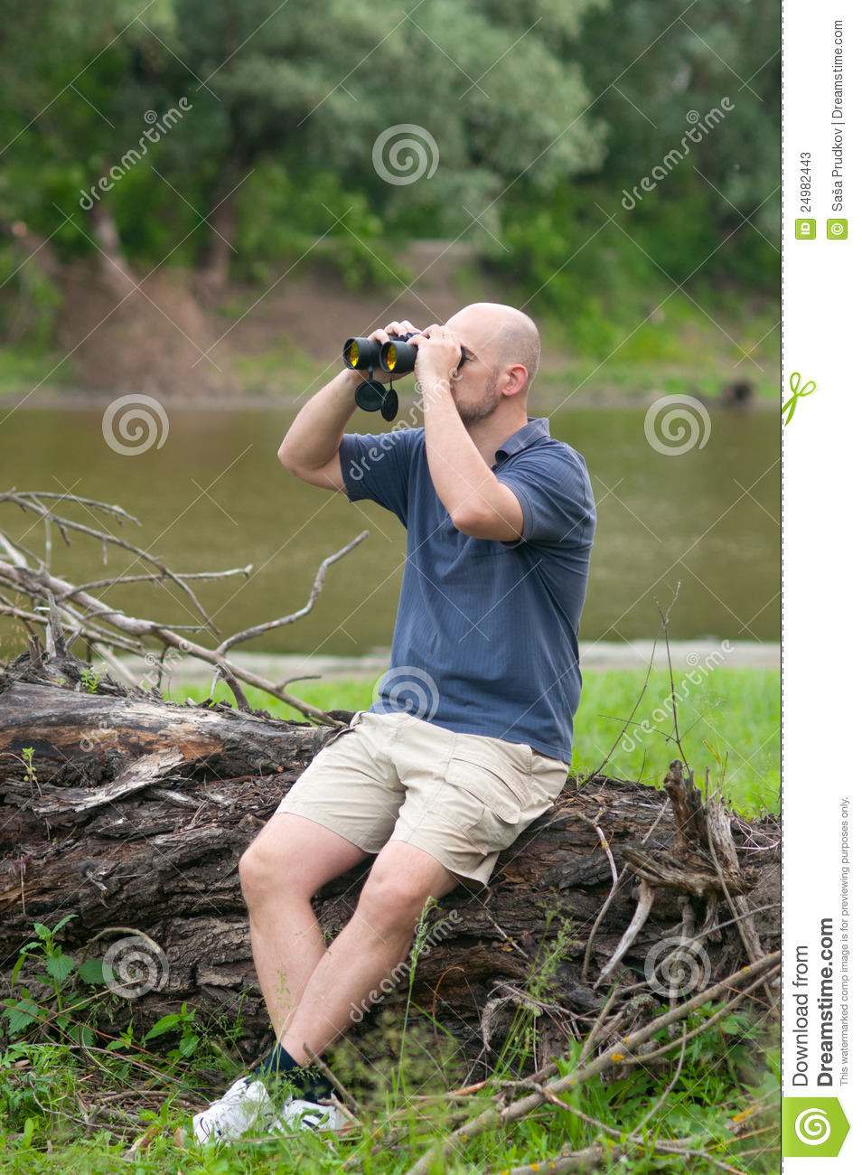 Man Observing Nature With Binoculars Stock Photos - Image ...