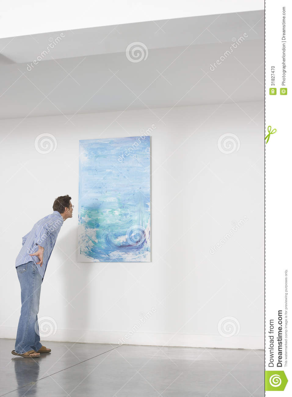 Man Observing Painting In Art Gallery Stock Photo Image 31827470