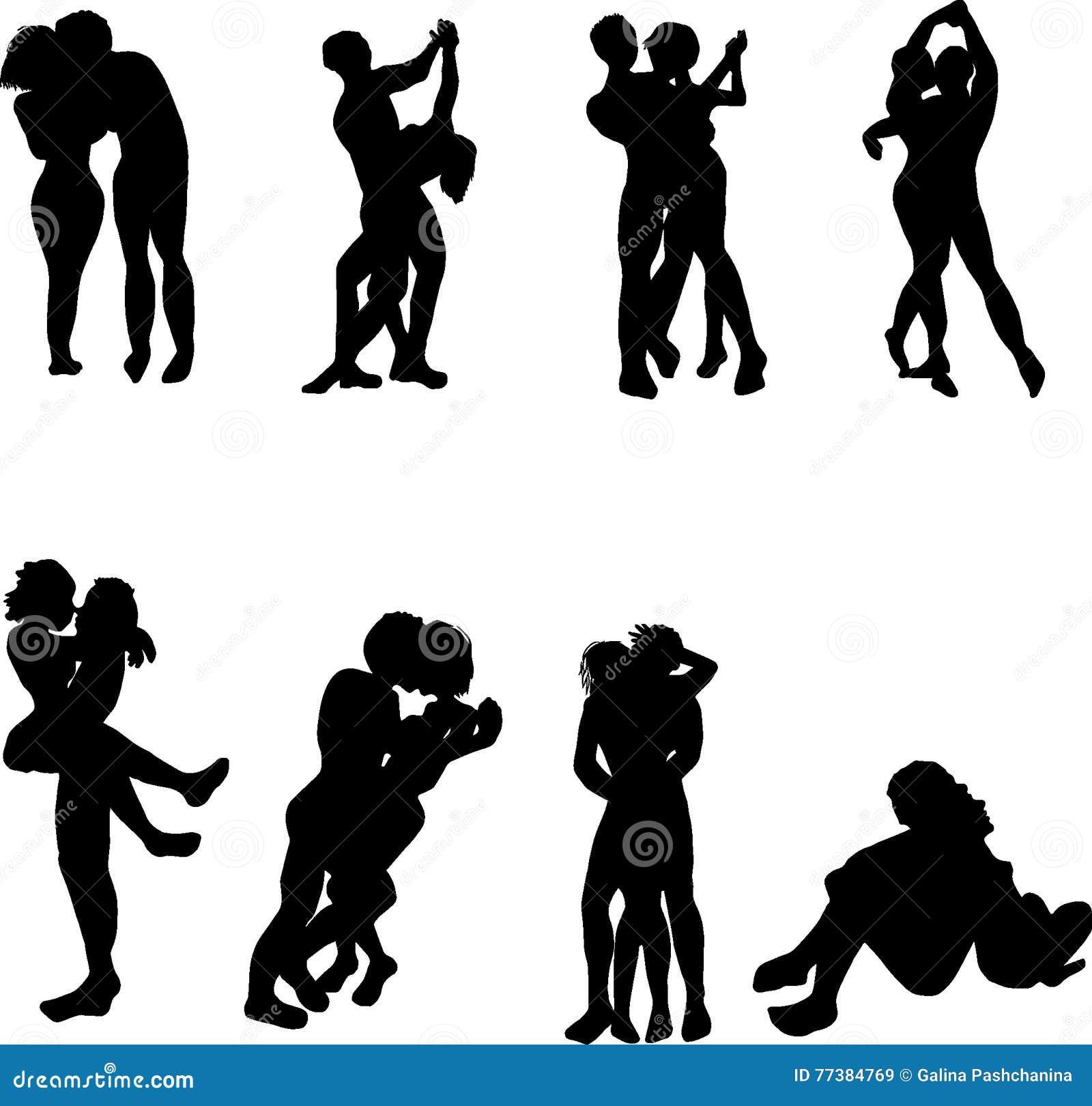 Man och kvinnaförälskelse- och danssymboler