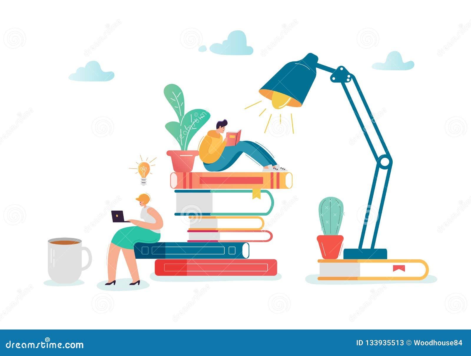 Man- och kvinnateckenläseböcker Plant folk som sitter på bunt av böcker Utbildning arkivlitteraturbegrepp