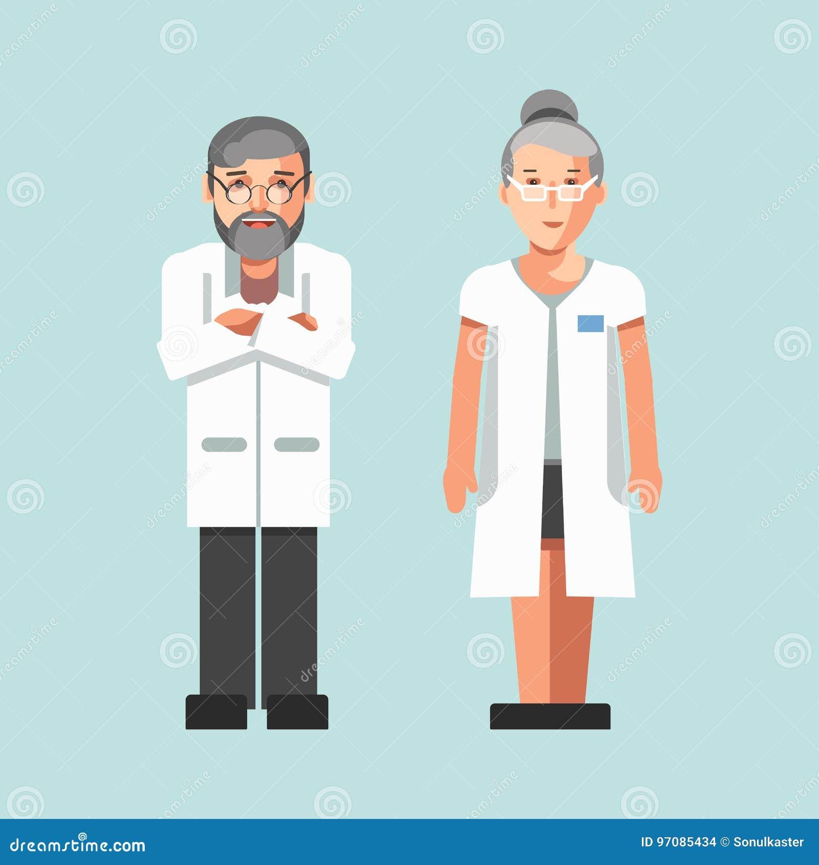 Man- och kvinnavektorn för medicinska arbetare eller för sjukhusdoktorer sänker symboler