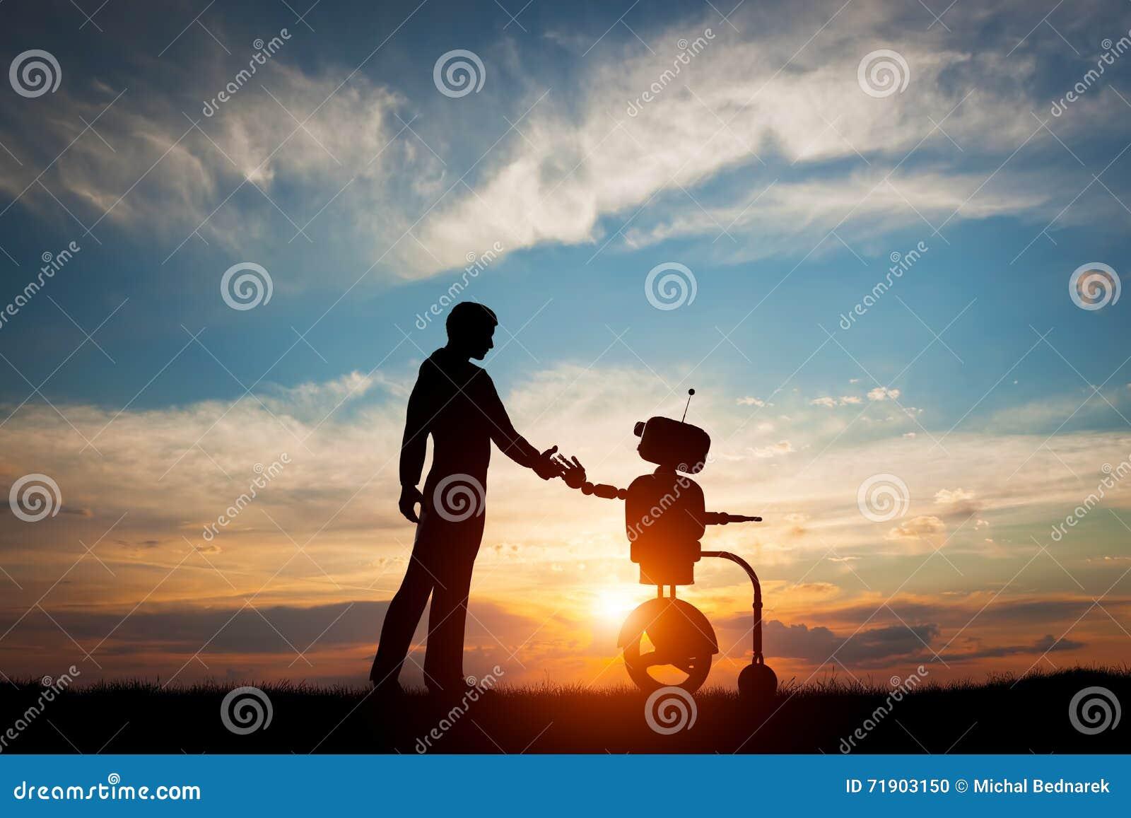Man och robotmöte och handskakning Begrepp av framtida växelverkan med konstgjord intelligens