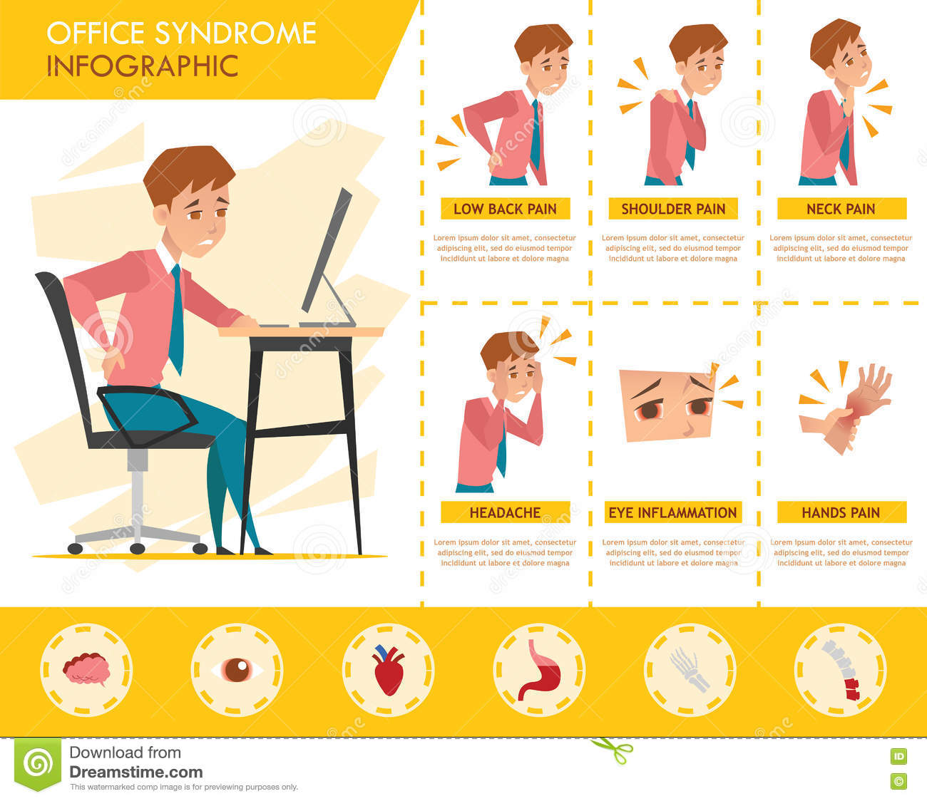 man office syndrome info graphic and stretching exercise stock