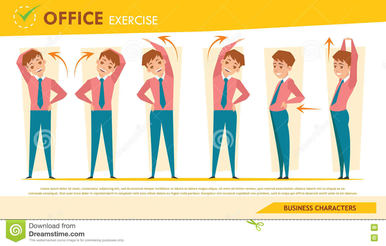 man office syndrome infographic and stretching exercise set 2