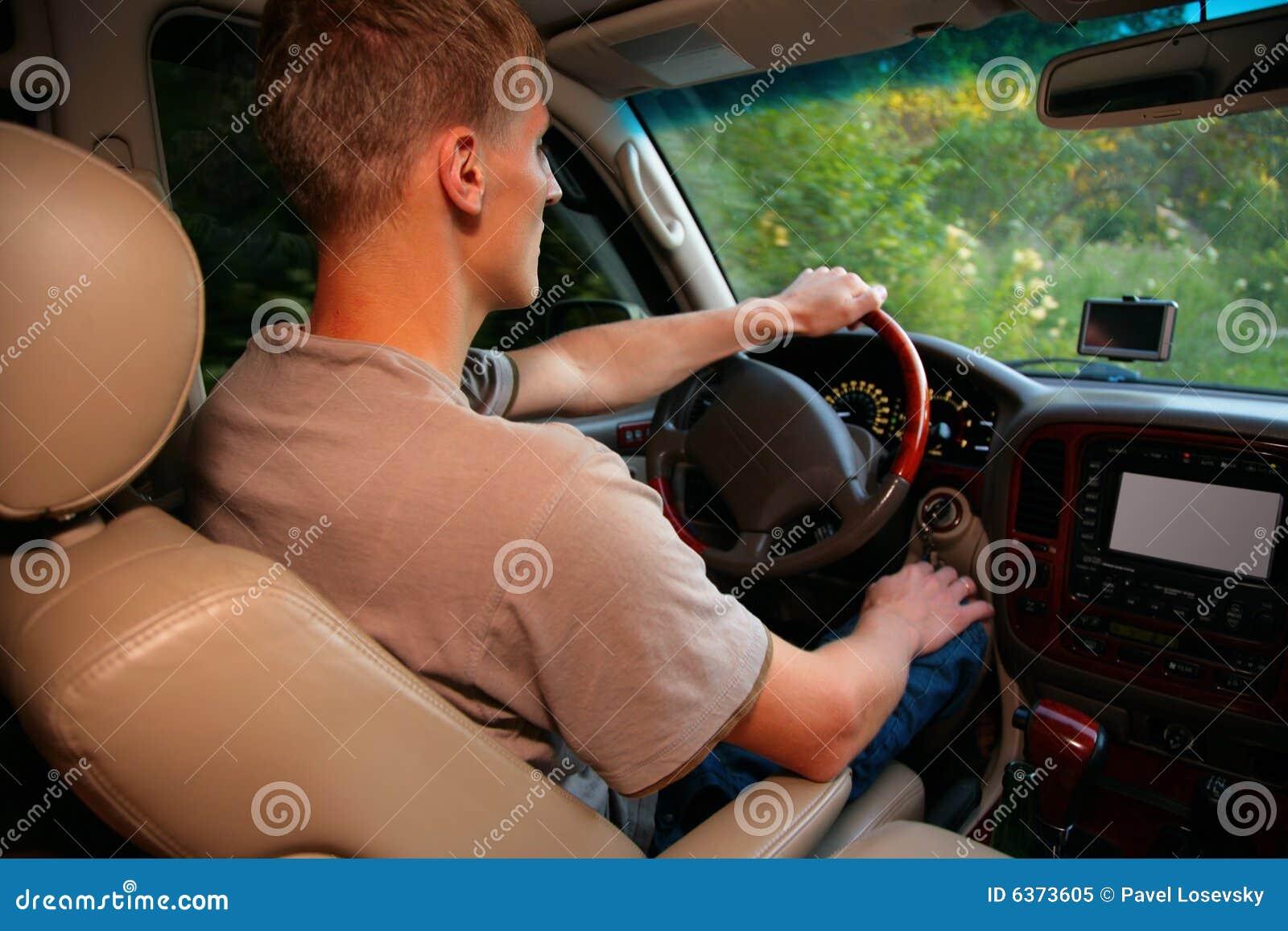 Man in offroad car