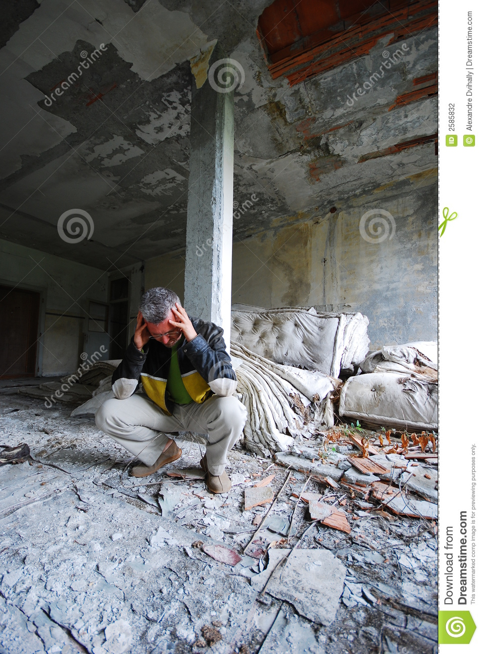 Man In Old Abandoned Building Stock Photo Image Of Alone