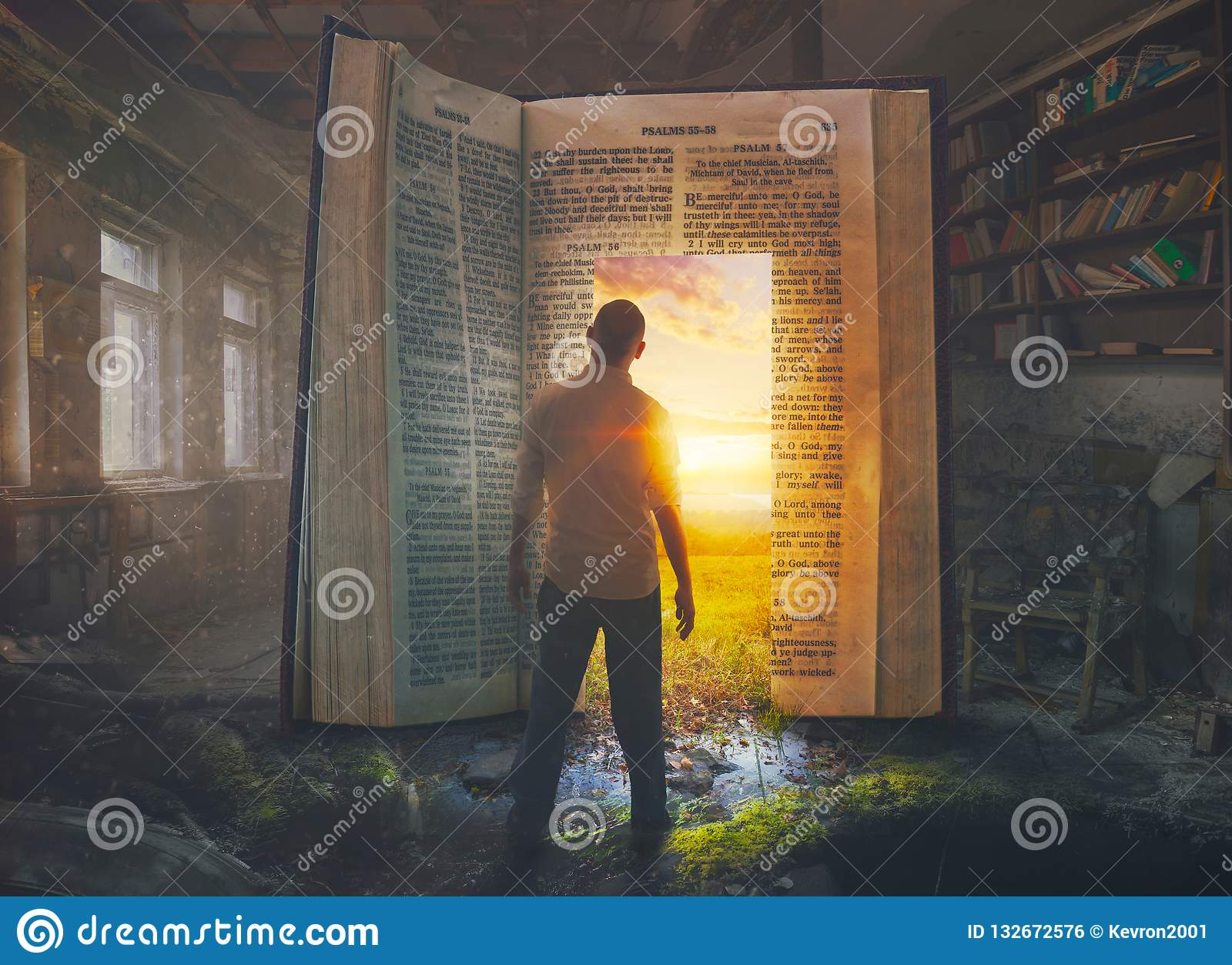 Man and open Bible