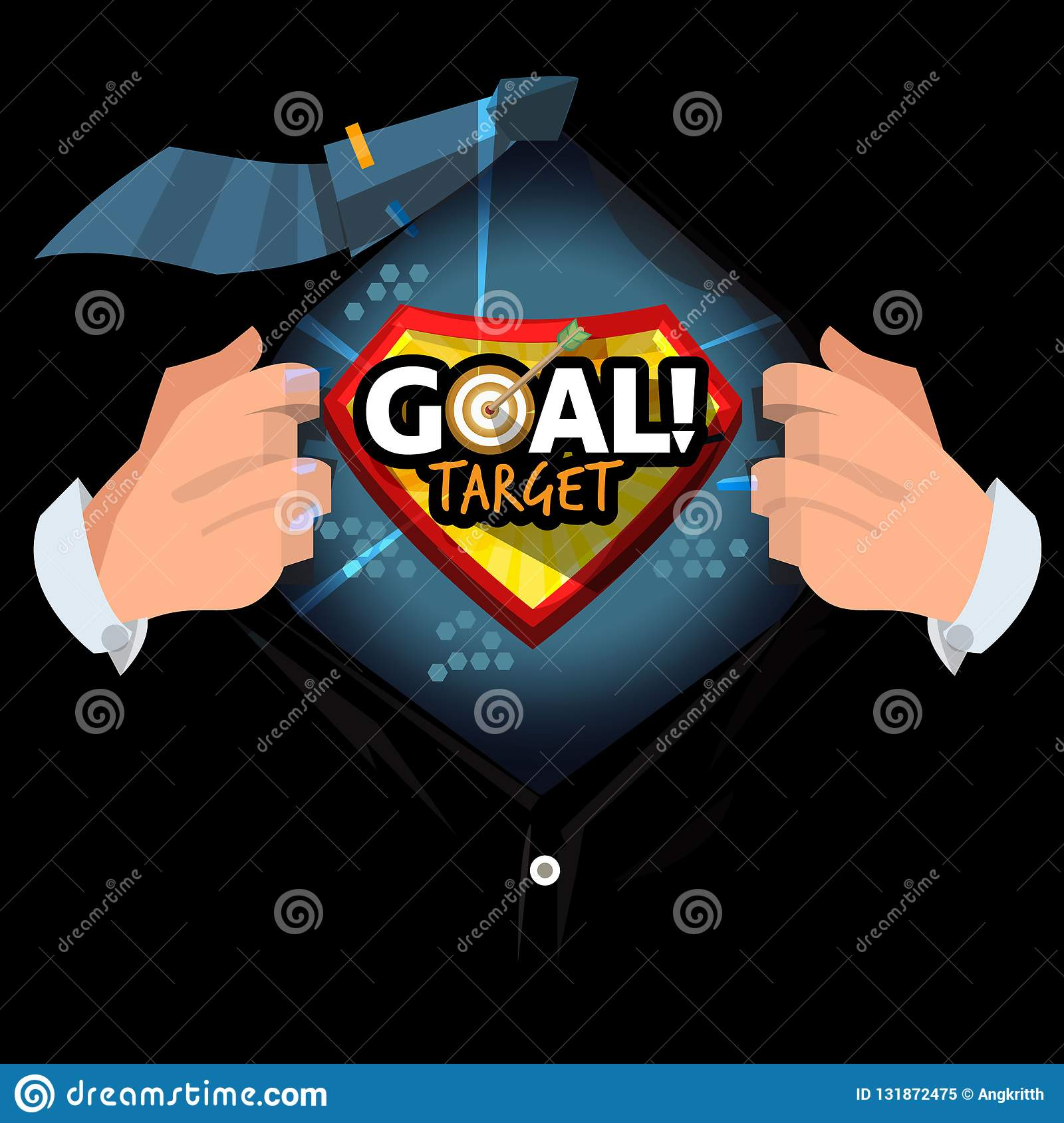 Man open shirt to show `Goal target ` logotype in cartoon style. life or business goal concept - vector