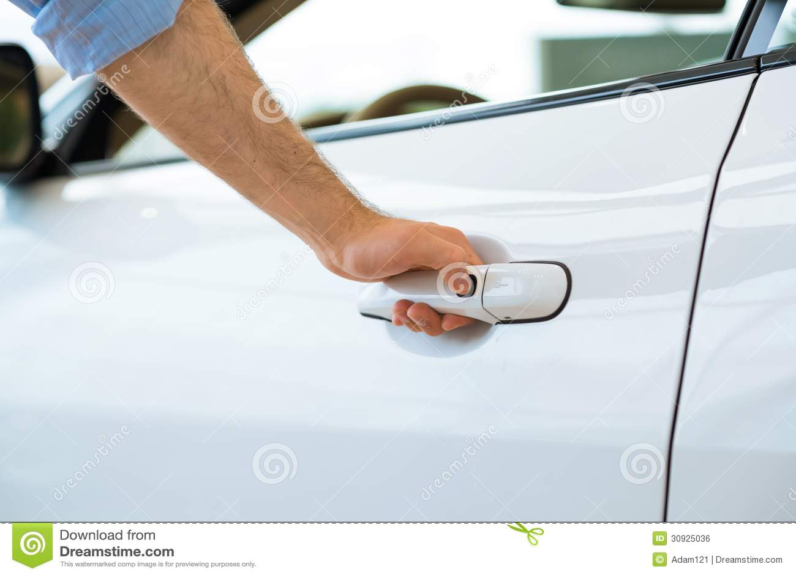 man close the car door stock photo 49576968. Black Bedroom Furniture Sets. Home Design Ideas