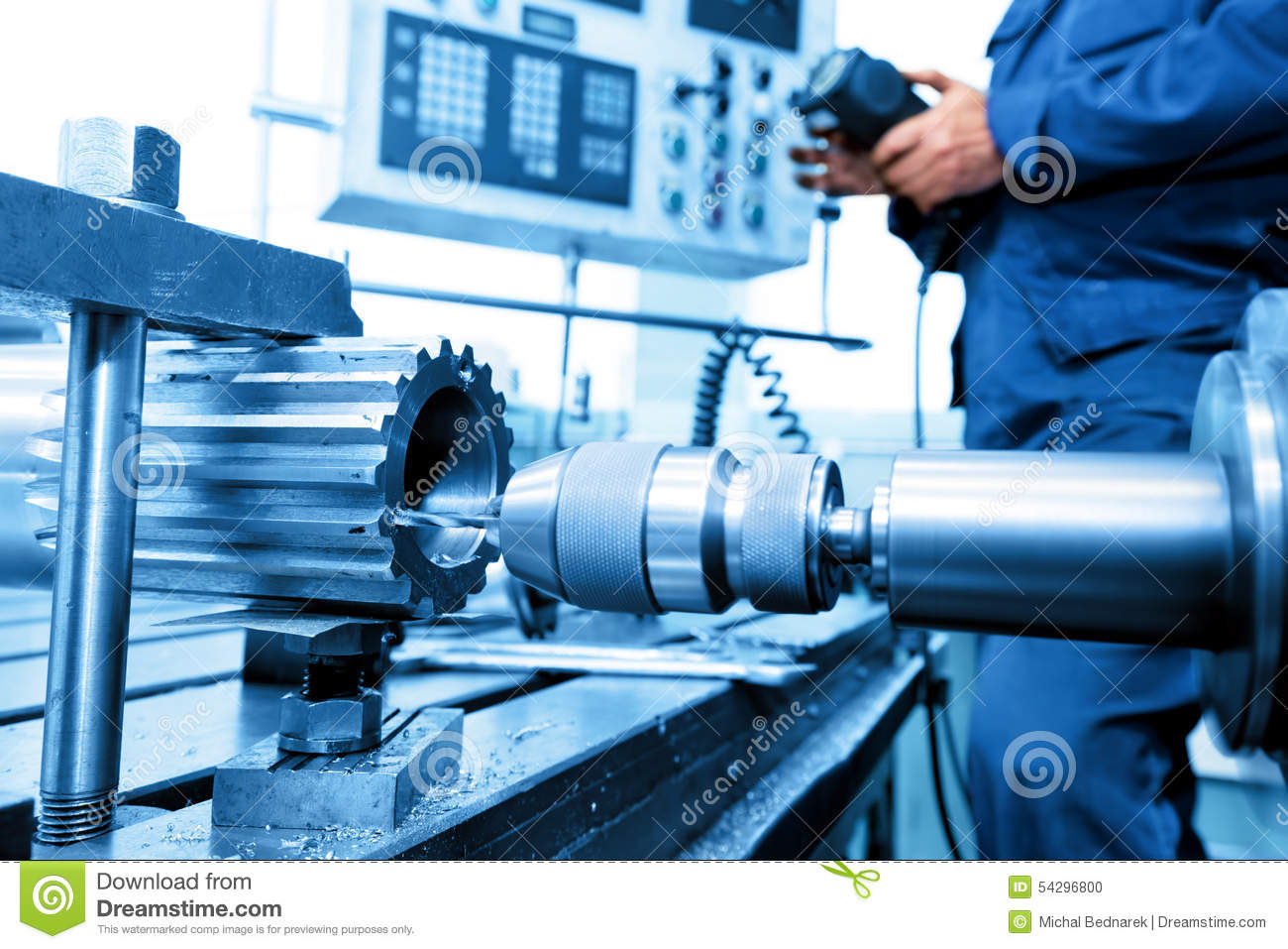 Download Man Operating CNC Drilling And Boring Machine. Industry Stock Photo - Image of machinist, drill: 54296800