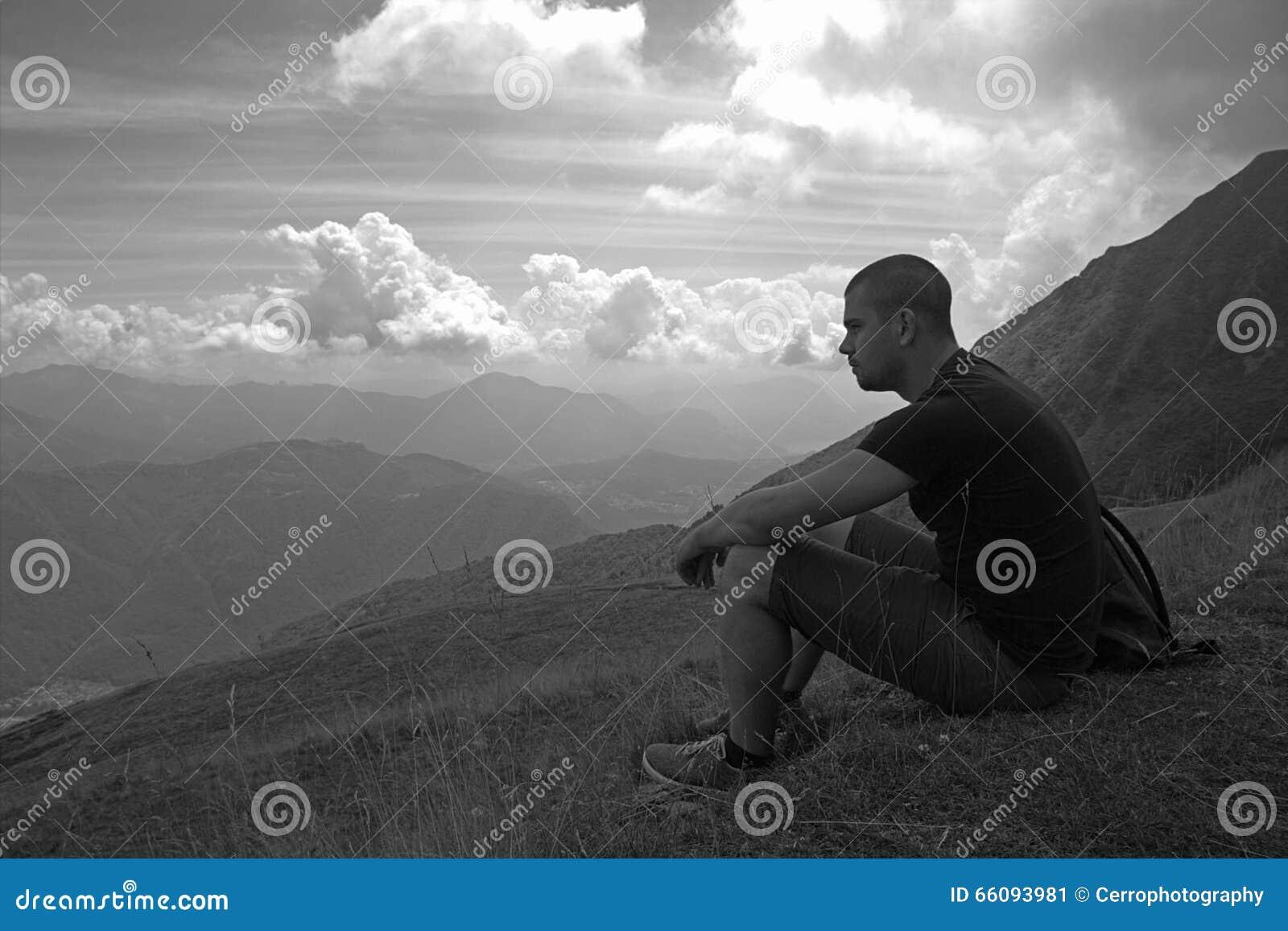 Man på ett berg