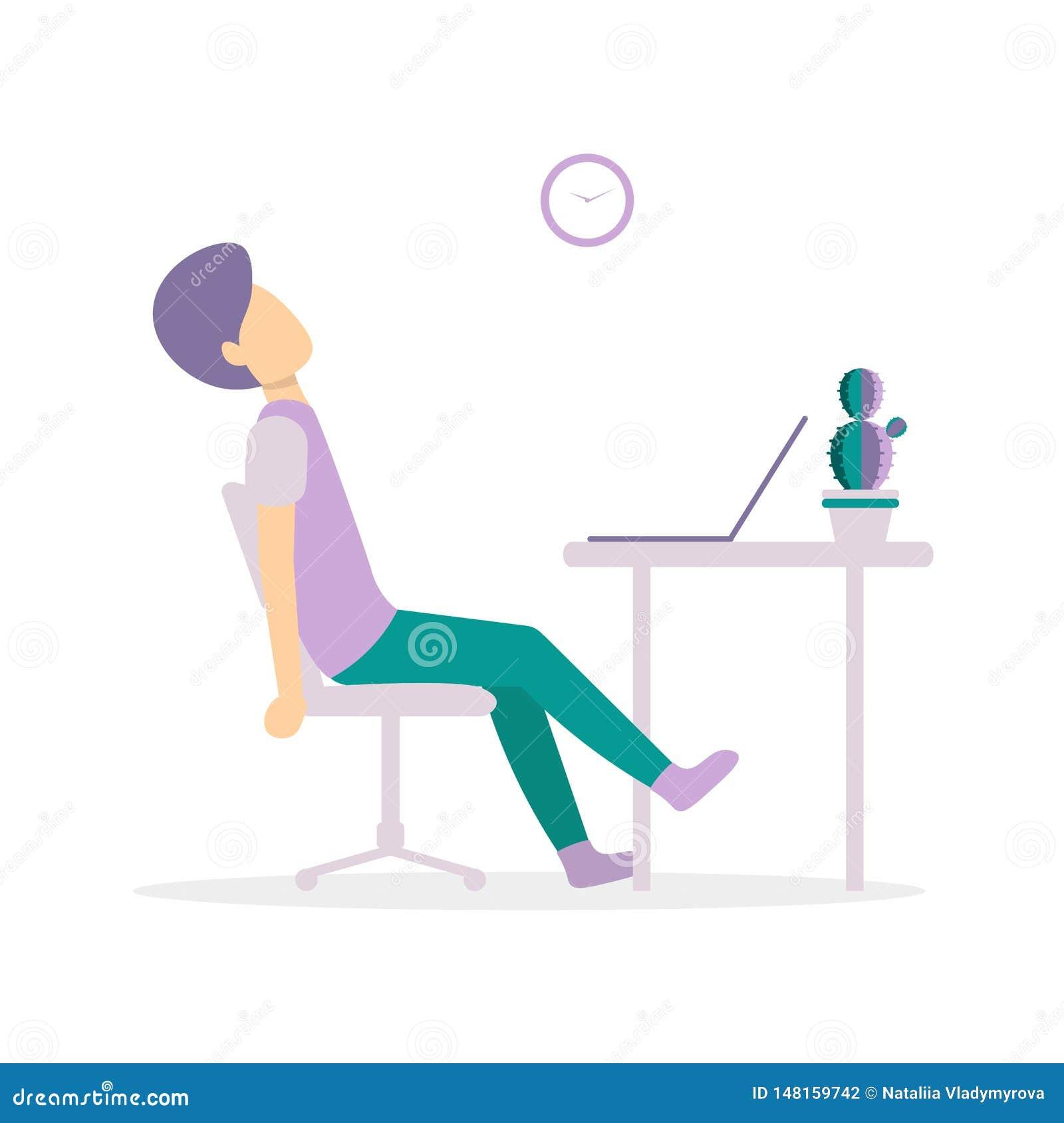 Man på tabellen som är trött med bärbara datorn