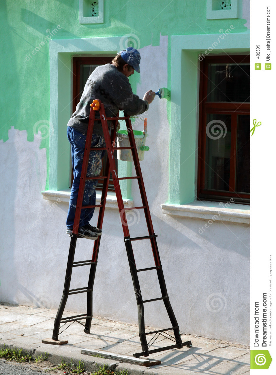 Man Paint The House Wall Stock Image Image Of Collar