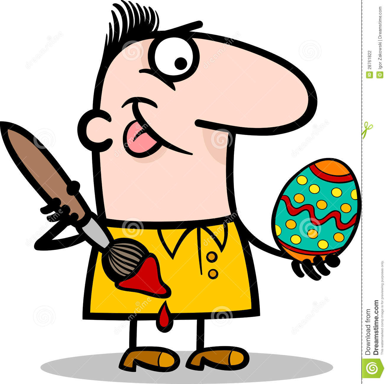 man painting easter egg cartoon illustration stock vector image