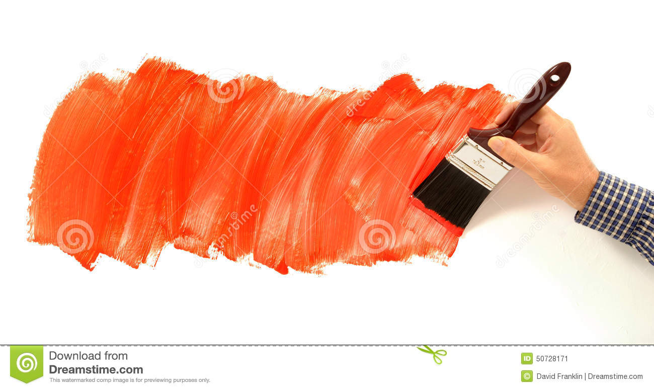 Man Painting Red Paint On White Wall Holding Paint Brush Stock