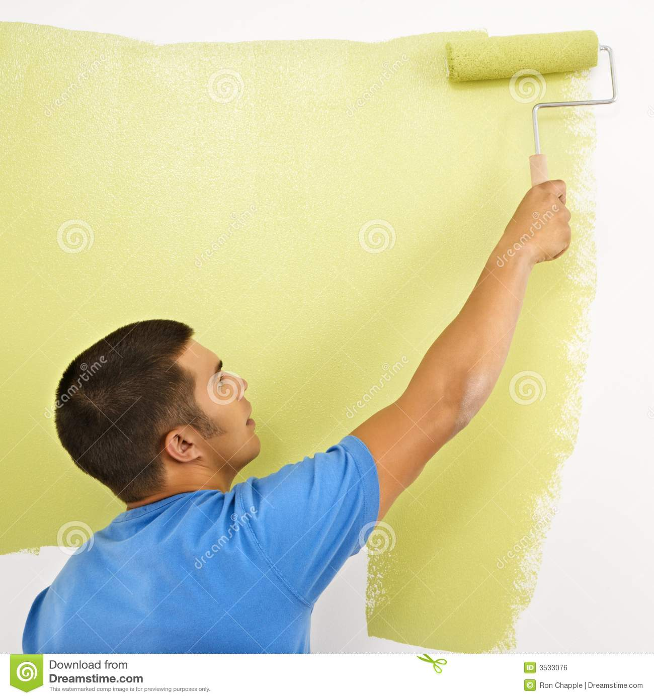 Person painting wall - Green Man Paint Painting Roller Wall