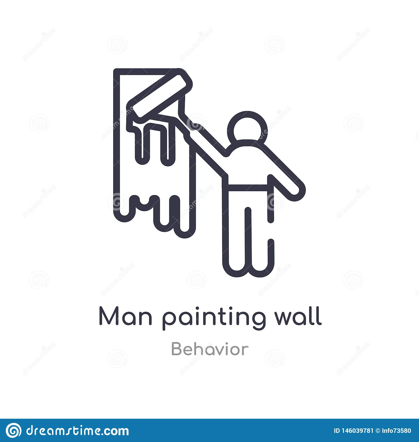 man painting wall outline icon. isolated line vector illustration from behavior collection. editable thin stroke man painting wall