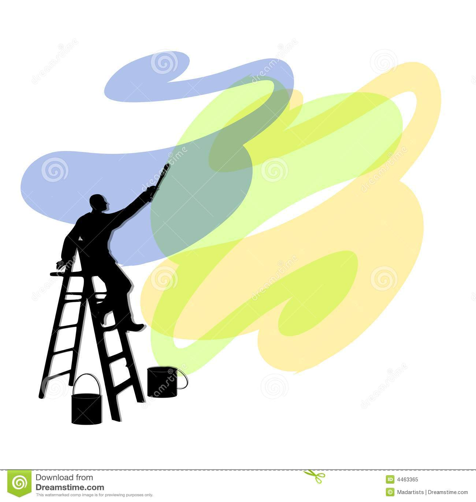 Man painting walls on ladder stock illustration image - Pinturas de paredes ...