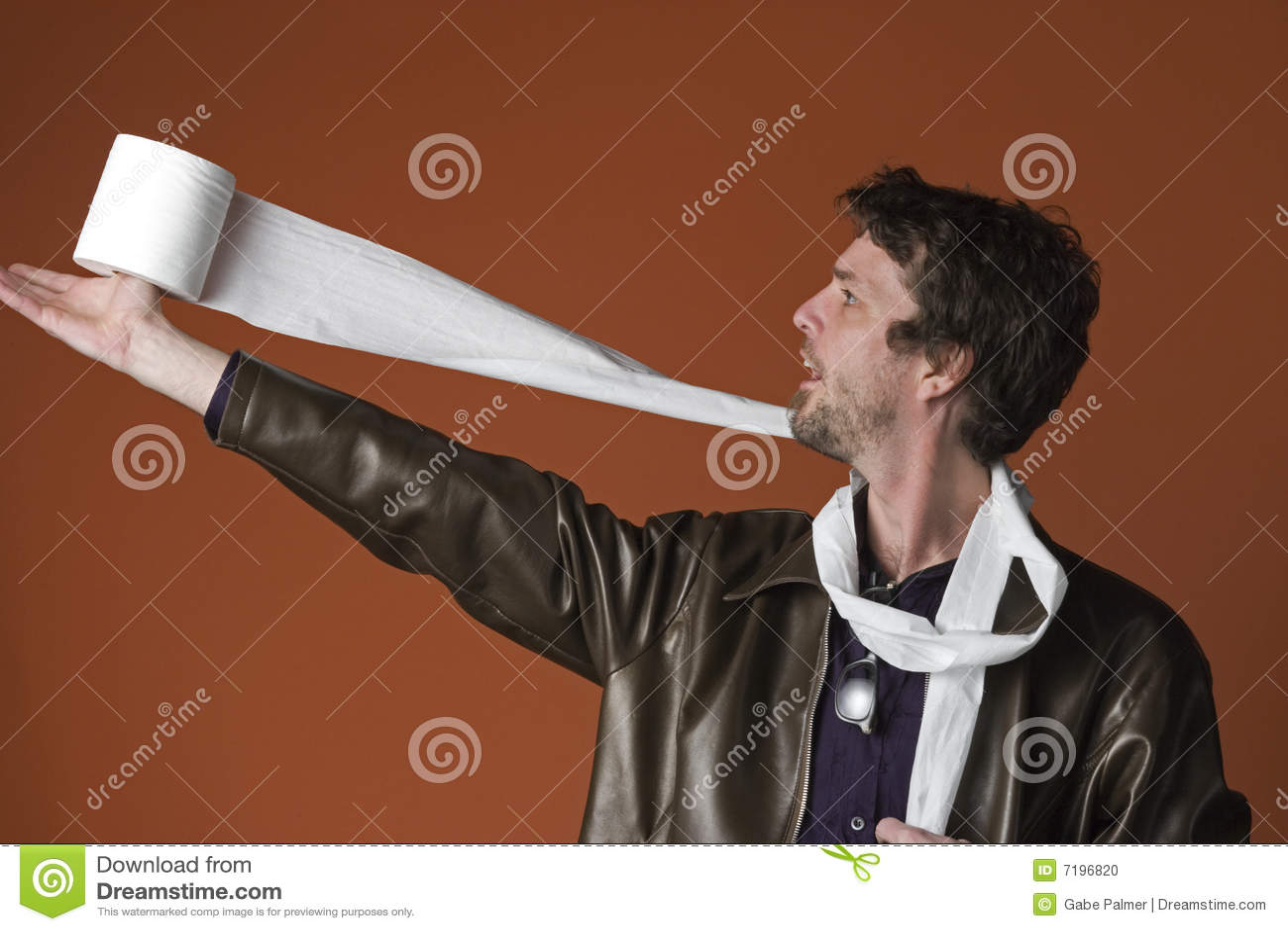 Man paper plays toilet