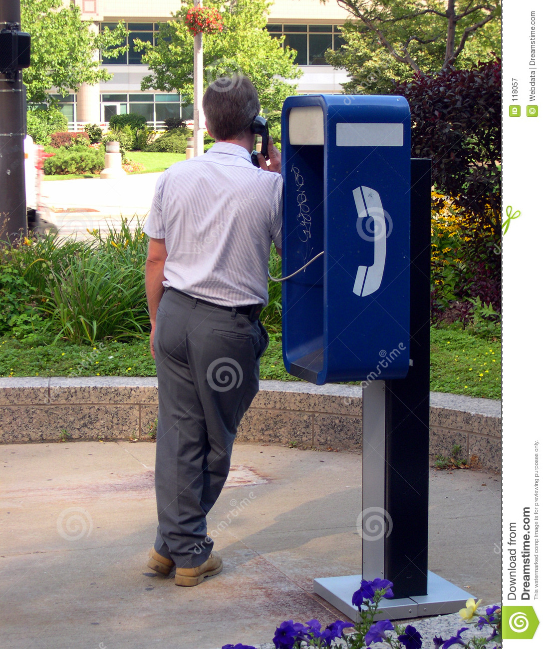 Man on payphone