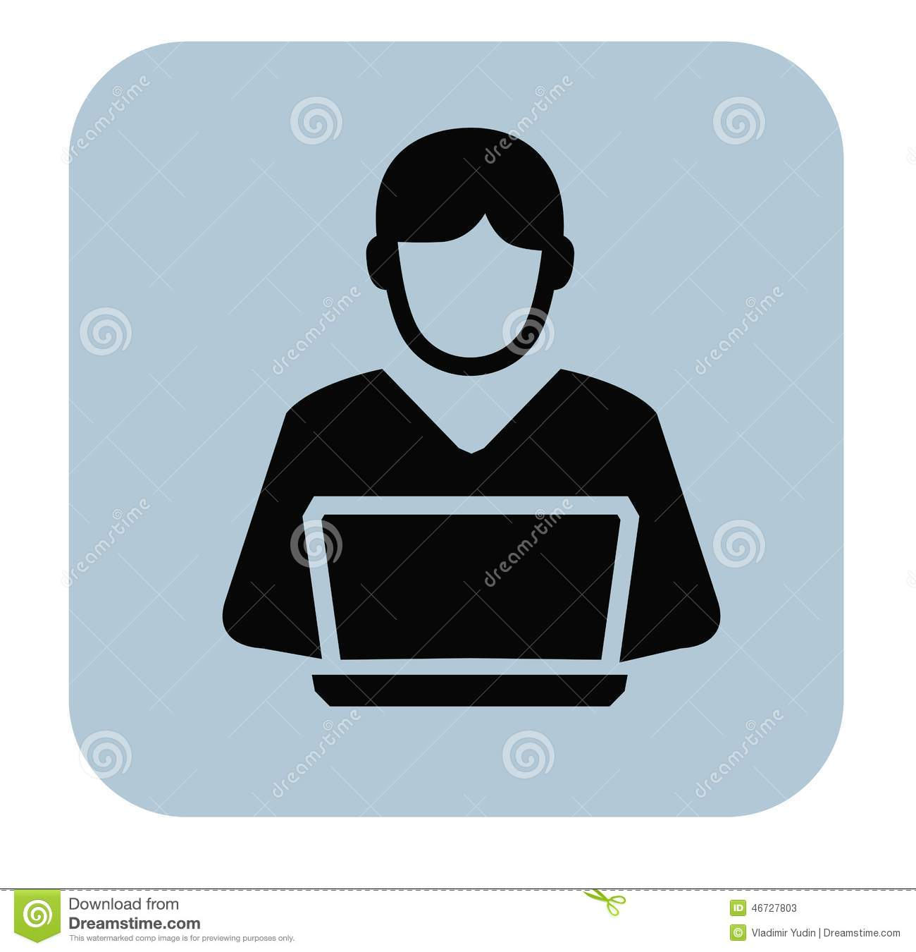 Vector black man and pc icon on white background