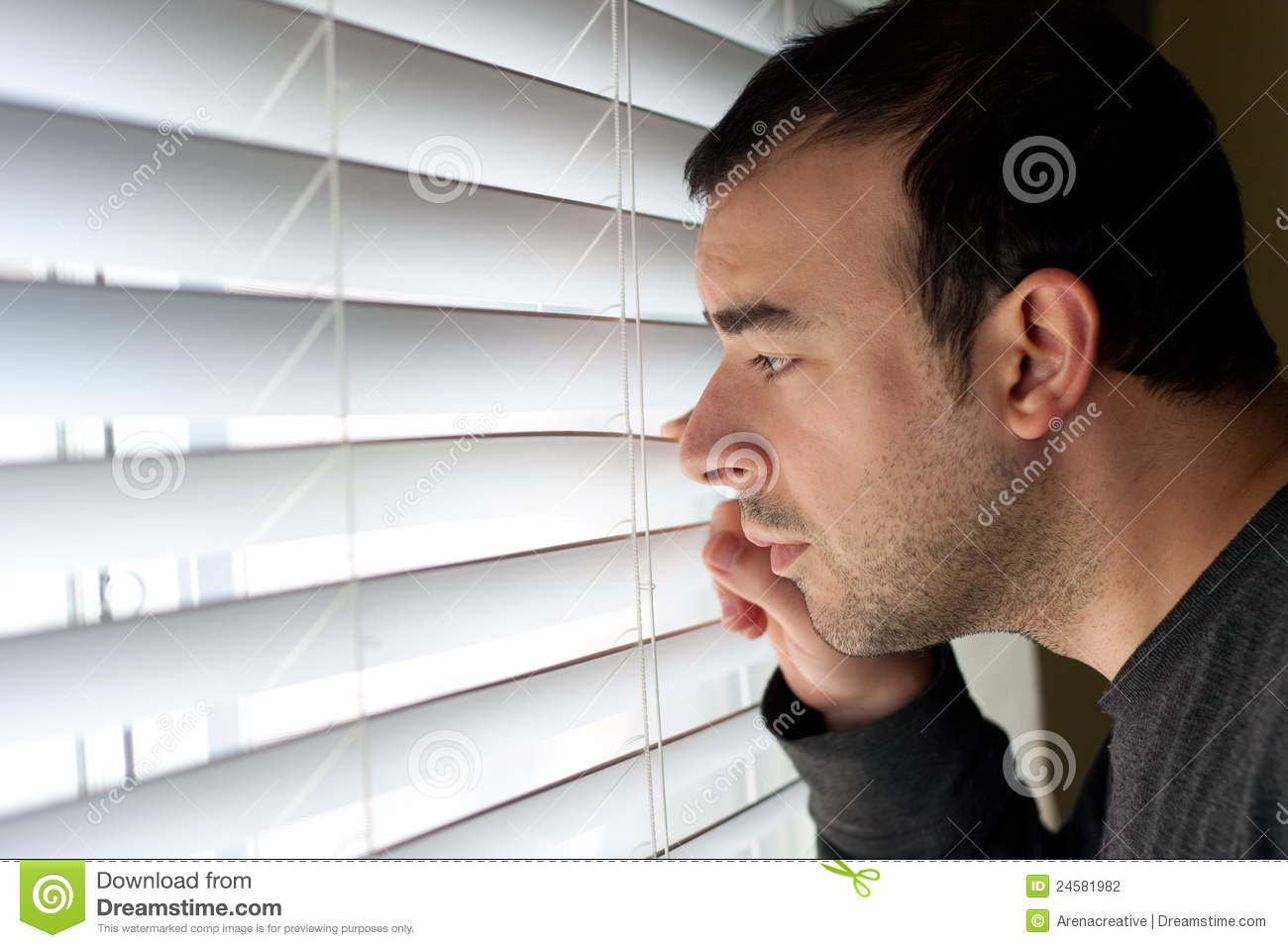 Man Peeking Through Blinds Stock Photography Image 24581982