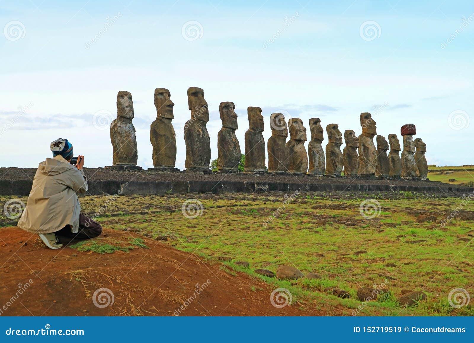 Moai Statues On Easter Island. Ahu Tongariki Stock Photo