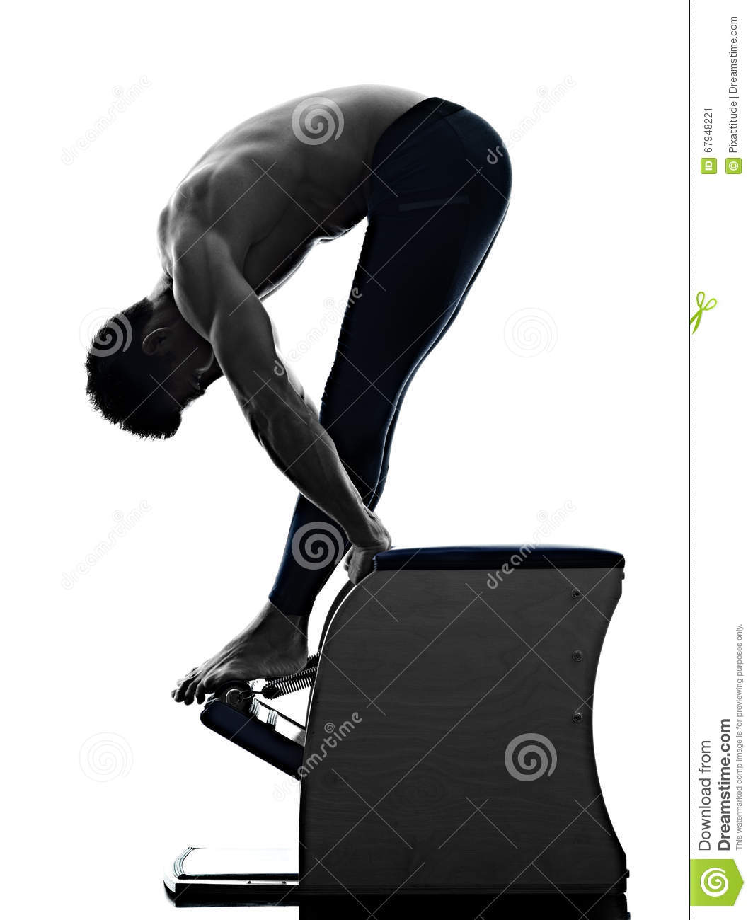 Woman Pilates Chair Exercises Fitness Stock Photo: Man Pilates Chair Exercises Fitness Isolated Stock Image