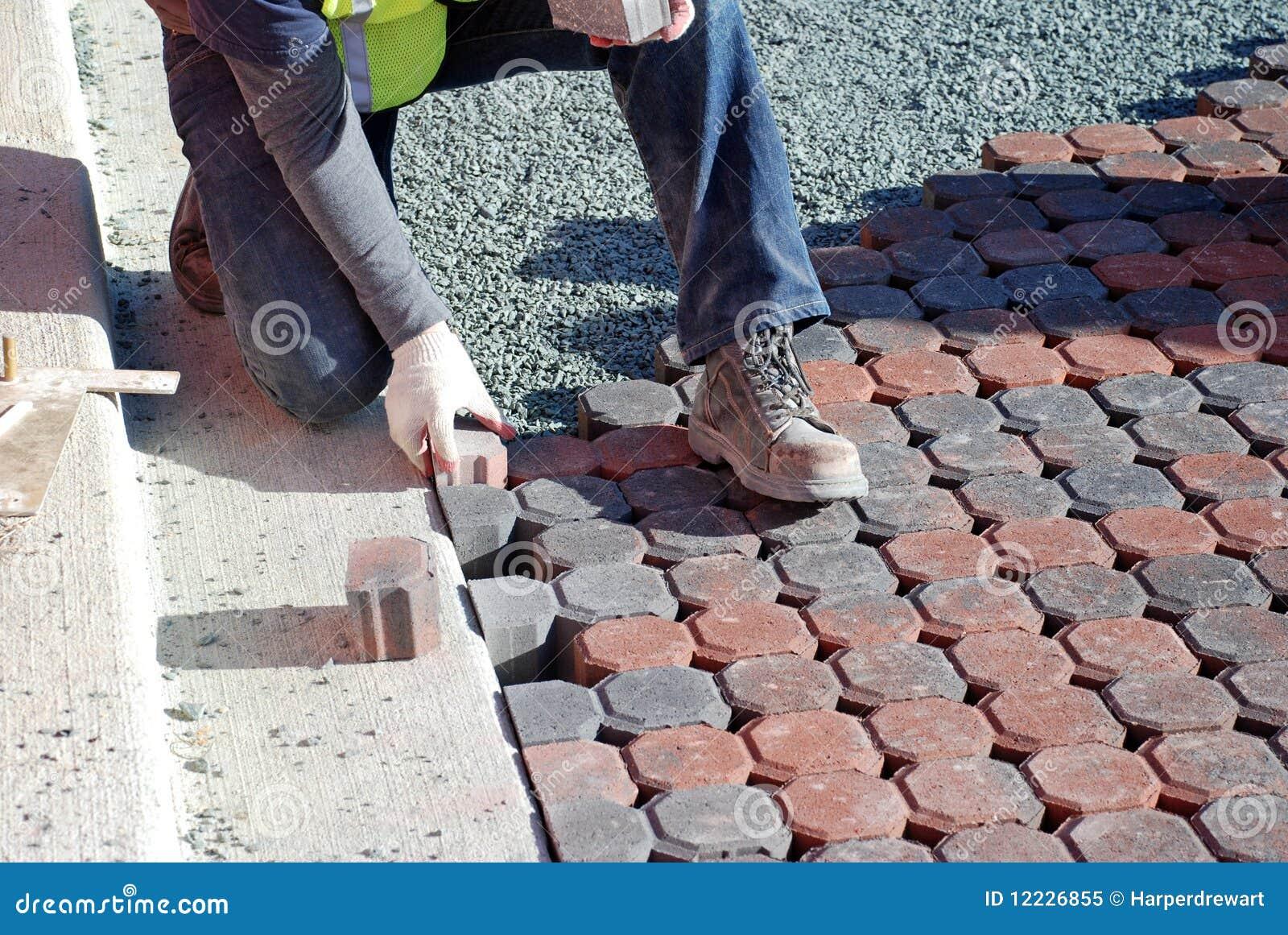 Man Placing Paving Stones Stock Image Image Of Laborer