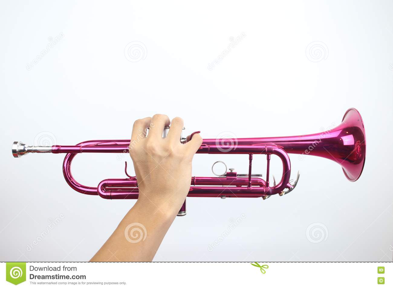 The Man Play A Trumpet On White Background Stock Image