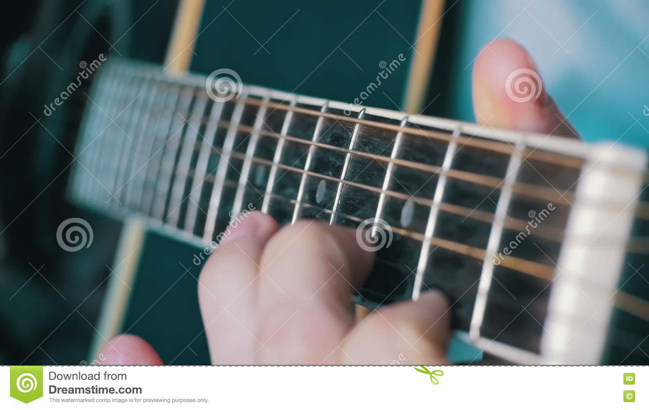 Man Playing Acoustic Guitar Slow Motion Stock Video Video Of Band
