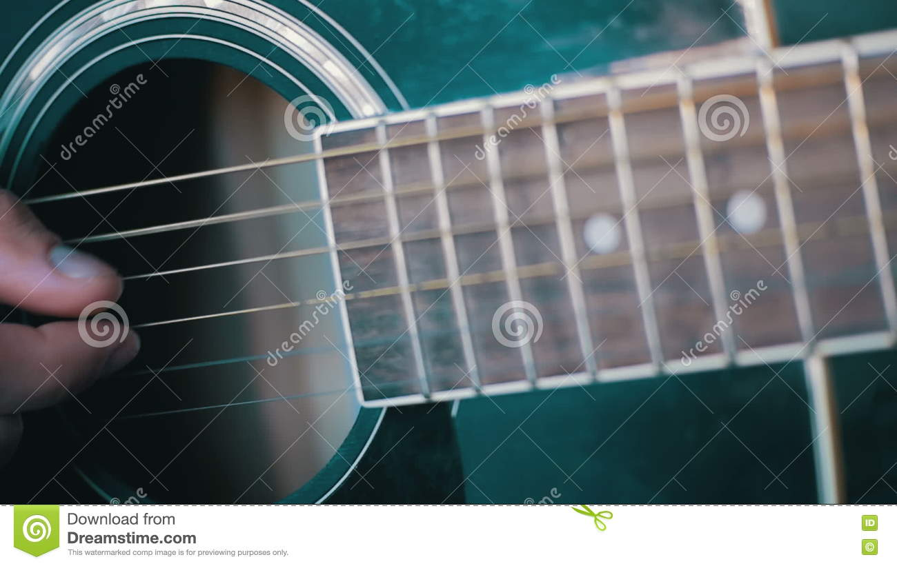 Man Playing Acoustic Guitar Slow Motion Stock Video Video Of